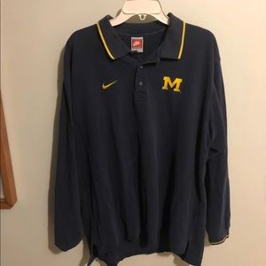 Nike Michigan Wolverines L/S Polo Sz. Large